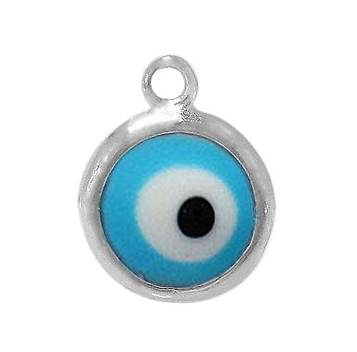 Charm, Evil Eye, Sterling Silver,  6.5mm Diameter x 2mm Thickness , Sold Per pkg of 1