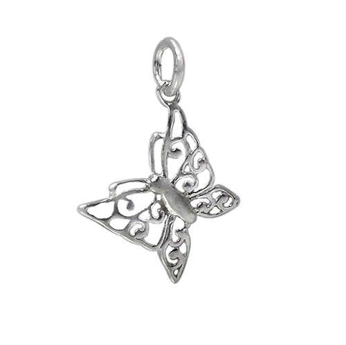 Charm, Butterfly, Sterling Silver, 12mm X 16mm, 1pc - Butterfly Beads