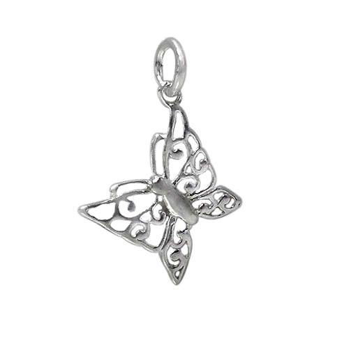 Charm, Butterfly, Sterling Silver, 12mm X 16mm, 1pc