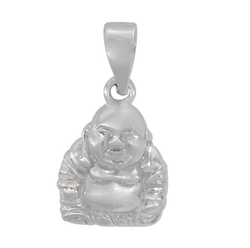 Charm, Buddha, Rhodium Plated on Sterling Silver, 12mm X 10mm , Sold Per pkg of 1