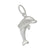 Charm, Dolphin, Sterling Silver, 19mm L x 12mm W, Sold Per pkg of 1