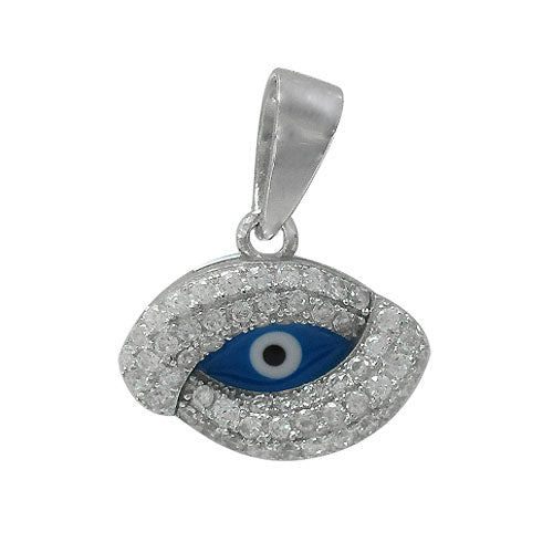Charm, Blue Evil Eye, Rhodium plated on Sterling Silver, Sold Per pkg of 1