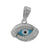 Charm, Evil Eye, Rhodium plated on Sterling Silver, Sold Per pkg of 1
