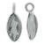 Charm, Green Amethyst, Rhodium plated on Sterling Silver, Sold Per pkg of 1