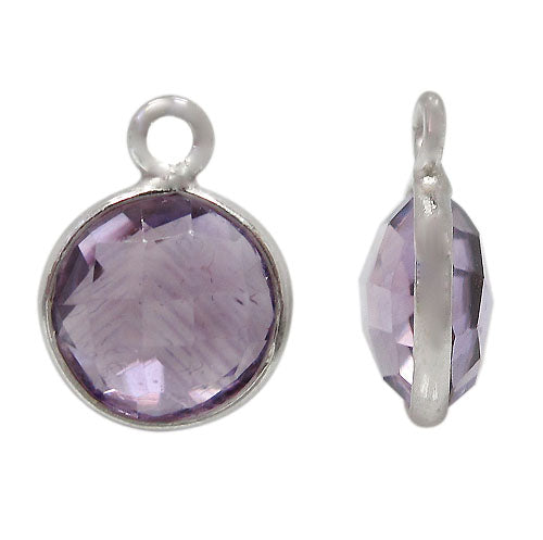 Charm, Amethyst, Rhodium plated on Sterling Silver, Sold Per pkg of 1