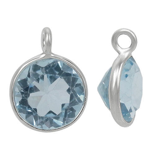 Charm, Blue Topaz, Rhodium plated on Sterling Silver, Sold Per pkg of 1