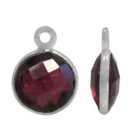 Charm, Garnet, Rhodium plated on Sterling Silver, Sold Per pkg of 1