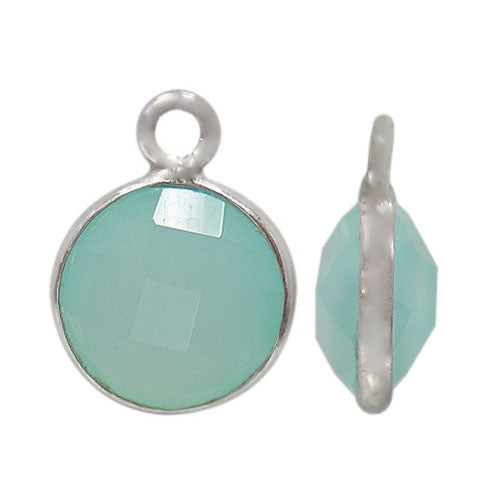 Charm, Chalcedony, Rhodium plated on Sterling Silver, Sold Per pkg of 1