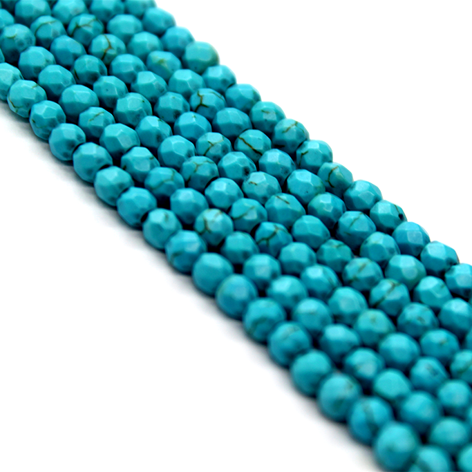 Faceted Dark Turquoise Blue, Semi-Precious Stone, 4mm, 110 pcs per strand