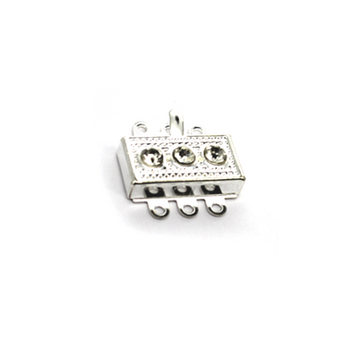 Clasp, Box Clasp, Silver, Alloy, 17mm x 18mm, Sold Per pkg of 1