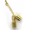 Clasp, Lobster Clasp with Tube and Chain, Gold, Alloy, 56mm x 8mm, Sold Per pkg of 1