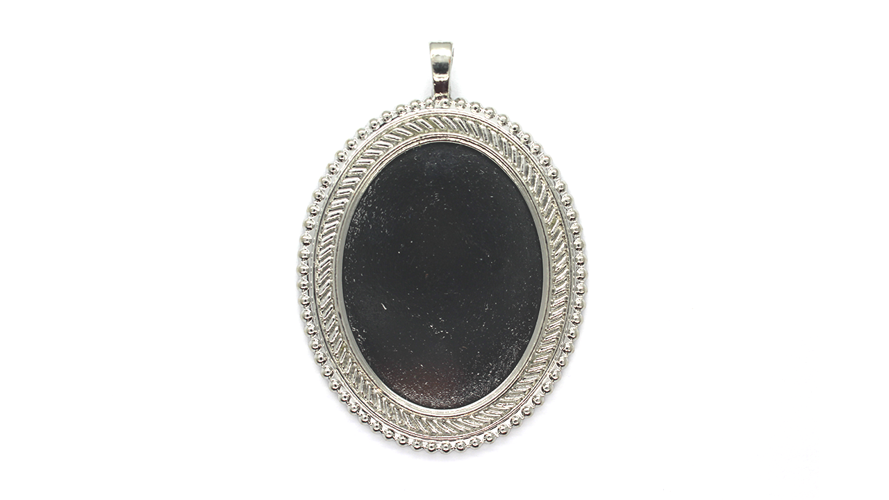 Pendants, Beaded Framed Bezel, Silver, Alloy, 59mm x 41mm X 6mm, Sold Per pkg of 1