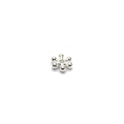 Spacers, Snowflake Spacer, Alloy, Silver, 7mm X 7mm, Sold Per pkg of 25 - Butterfly Beads