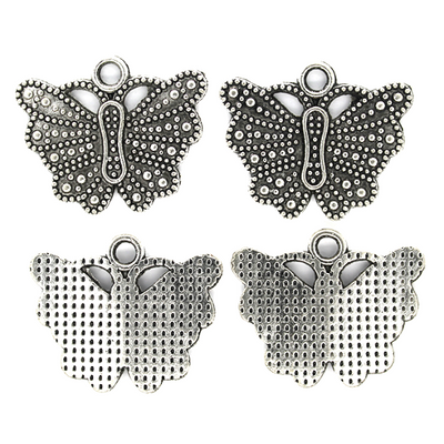 Charms, Butterfly, Silver, Alloy, 22mm X 19mm X 2mm, Sold Per pkg of 4