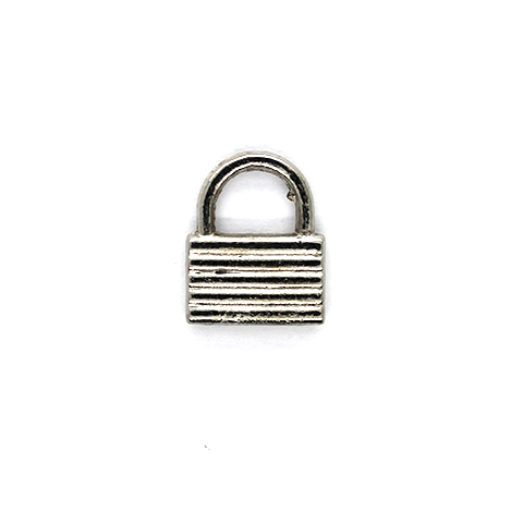 Charms, Simple Lock , Silver, Alloy, 15mm X 12mm, Sold Per pkg of 10