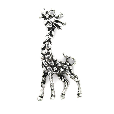 Charms, Scaly Giraffe, Silver, Zinc Alloy, 53mm X 25mm, Sold Per pkg of 2
