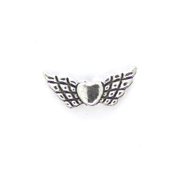 Spacers, Heart Wings, Silver, Alloy, 8mm X 21mm, Sold Per pkg of 6