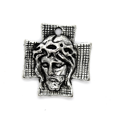 Charms, Cross of Jesus, Silver, Alloy, 23mm x 21mm,  Sold Per pkg 2