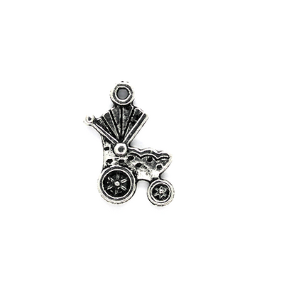Charms, Spotted Baby Carriage, Silver, Alloy, 19mm X 12mm, Sold Per pkg of 6