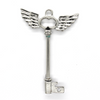 Pendants, Angel Winged Key, Silver, Alloy, 60mm X 42mm, Sold Per pkg of 1