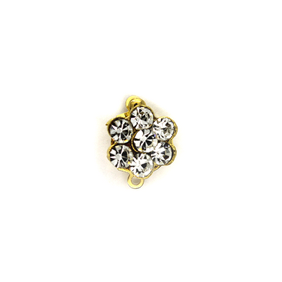 Clasp, Crystal Flower Snap Clasp, Alloy, Gold, 13mm x 10mm x 7mm, Sold Per pkg of 1
