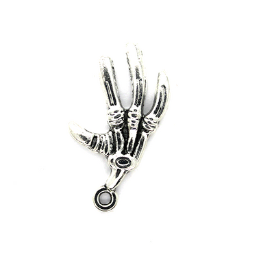 Charms, Skeletal Hand, Silver, Alloy, 18mm X 15mm, Sold Per pkg of 4