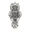 Pendants, Concerned Owl, Silver, Alloy, 75mm x 37mm, Sold Per pkg of 1