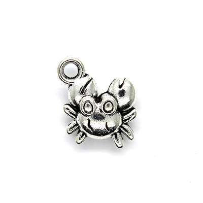 Charms, Tiny Crab, Silver, Alloy, 15mm X 12mm, Sold Per pkg of 6