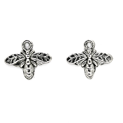 Charms, Wasp, Silver, Alloy, 13mm X 15mm, Sold Per pkg of 5