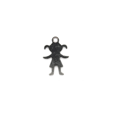 Charms, Faceless Girl, Silver, Stainless Steel, 16mm X 11mm, Sold Per pkg of 6