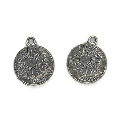 Charms, Daughter Sunflower, Silver, Alloy, 18mm x 15mm, Sold Per pkg 3