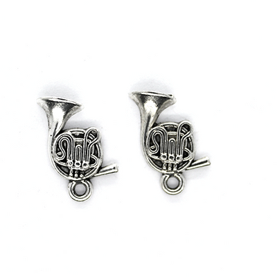 Charms, Swirly Tuba, Silver, Alloy, 18mm X 11mm, Sold Per pkg of 8