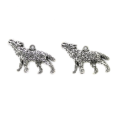 Charms, Howling Wolf, Silver, Alloy, 35mm X 20m X 2mm, Sold Per pkg of 3