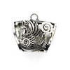 Pendants, Peacock Clasp, Silver, Alloy, 32mm x 36mm X 17mm, Sold Per pkg of 1