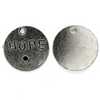 Pendants, Hope Tag, Silver, Alloy, 20mm X 20mm X 2mm, Sold Per pkg of 4