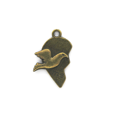 Charms, Broken Dove Heart, Bronze, Brass Alloy, 25mm X 15mm, Sold Per pkg of 3