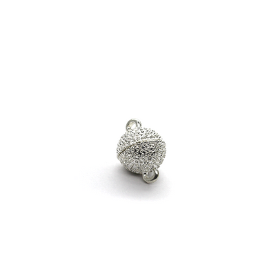 Clasp, Dotted Magnetic Sphere Clasp, Silver, Alloy, 18mm x 12mm x 12mm, Sold Per pkg of 1