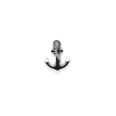 Charms, Point Anchor, Silver, Alloy, 16mm X 14mm X 2mm, Sold Per pkg of 8