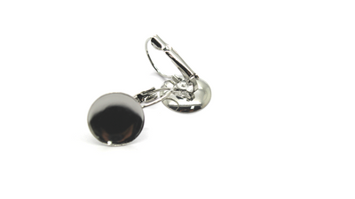 Earrings, Silver, Alloy (Nickel Free), Stone and Clay Base Backing, 23mm x 14mm, sold per pkg of 4