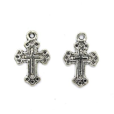Pendant, Triple Dotted Bottoni Cross, Silver, Alloy, 19mm x 12mm, Sold Per pkg 6