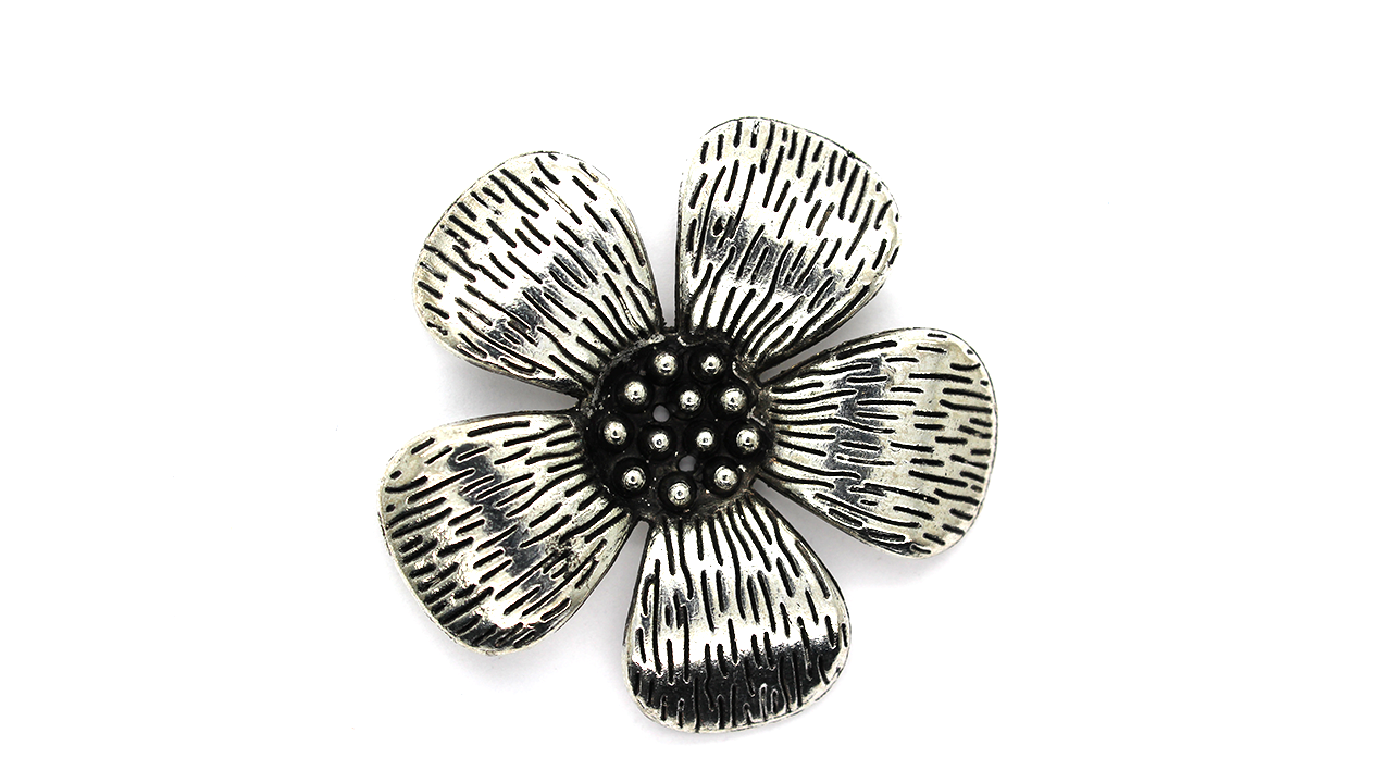 Pendants, Two Hole Flower, Silver, Alloy, 50mm X 50mm X 4mm, Sold Per pkg of 1