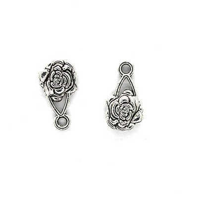 Charms, Swirly Rose, Silver, Alloy, 16mm X 10mm X 3mm, Sold Per pkg of 8