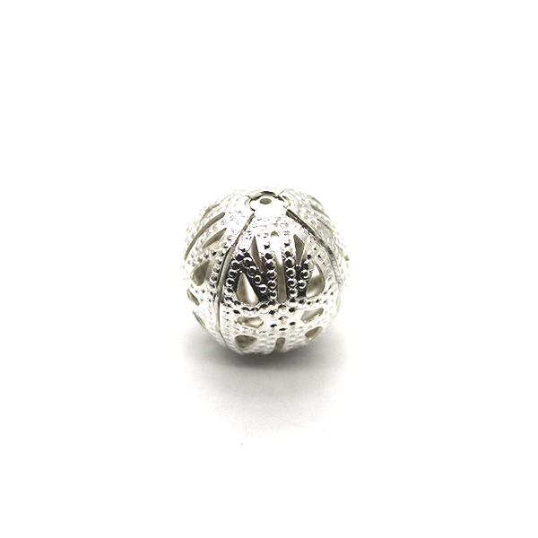 Spacers, Net Dotted Ball Spacer, Alloy, Bright Silver, 8mm X 8mm, Sold Per pkg of 20