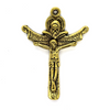 Pendant, Dual Crucifix, Gold, Alloy, 34mm x 24mm, Sold Per pkg 4