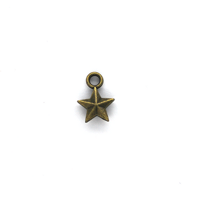 Charms, Small Gilded Star, Brass, Alloy, 11mm X 8mm, Sold Per pkg of 20