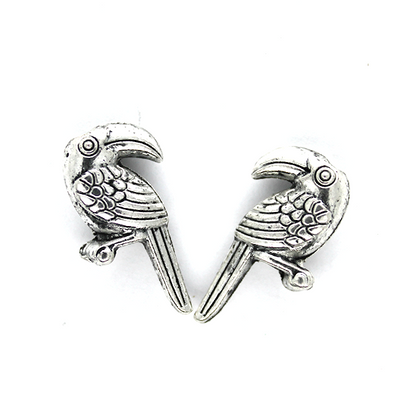 Charms, Sitting Parrot, Silver, Alloy, 20mm X 11mm, Sold Per pkg of 4