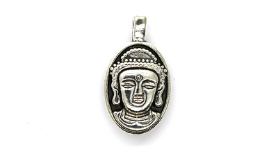 Pendants, Head of Buddha, Silver, Alloy, 31mm X 18mm, Sold Per pkg of 1