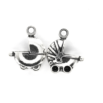 Charms, Firm Baby Carriage, Silver, Alloy, 17mm X 13mm, Sold Per pkg of 3