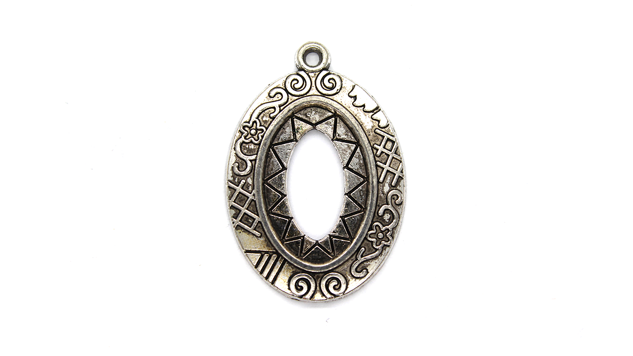 Pendants, Sun Bezel, Silver, Alloy, 32mm X 23mm X 2mm, Sold Per pkg of 4