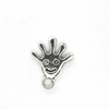 Charms, Smiley Face Hand, Silver, Alloy, 17mm X 14mm X 2mm, Sold Per pkg of 10